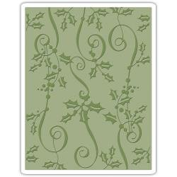 Sizzix Texture Fades A2 Embossing Folder Holly Ribbon By Tim Holtz