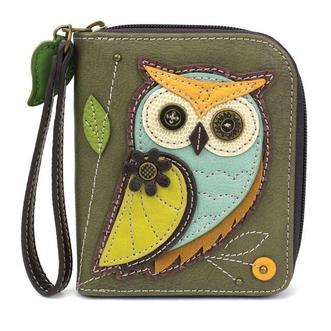 Owl Olive Zip-Around Wallet Chala Bag