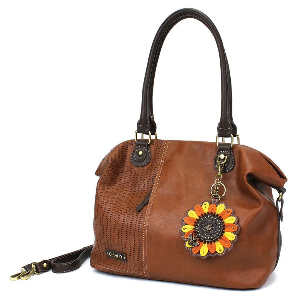 Chala Laser Cut Tote-Sunflower- BROWN