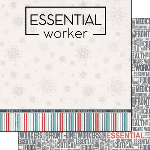 Scrapbook Customs - 12 x 12 Double Sided Paper - Covid-19 Essential Worker