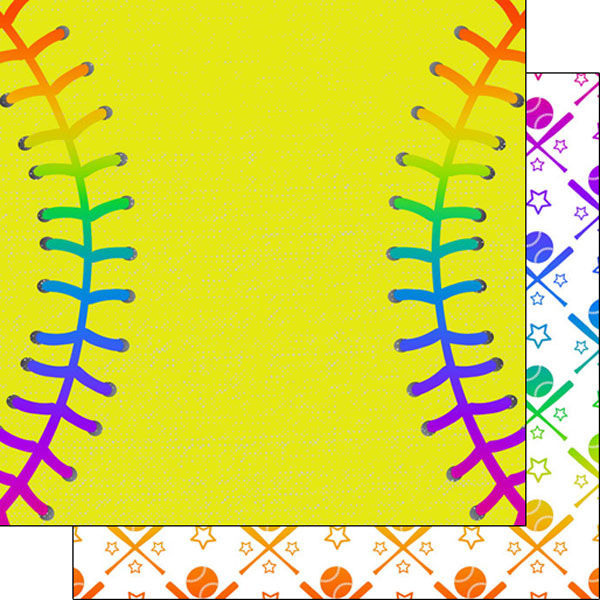 Scrapbook Customs Paper- SOFTBALL NEON 1
