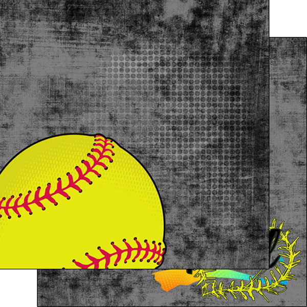 Scrapbook Customs Paper- SOFTBALL NEON 2