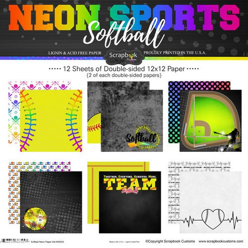 Softball- Neon Sports Paper Set 12X12