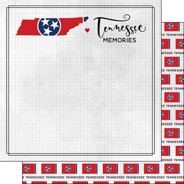 Scrapbook Customs 12 x 12 - TENNESSEE ADVENTURE FLAG DS PAPER