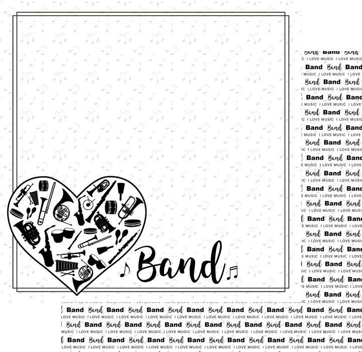 Scrapbook Customs Paper-Band Instruments In Heart