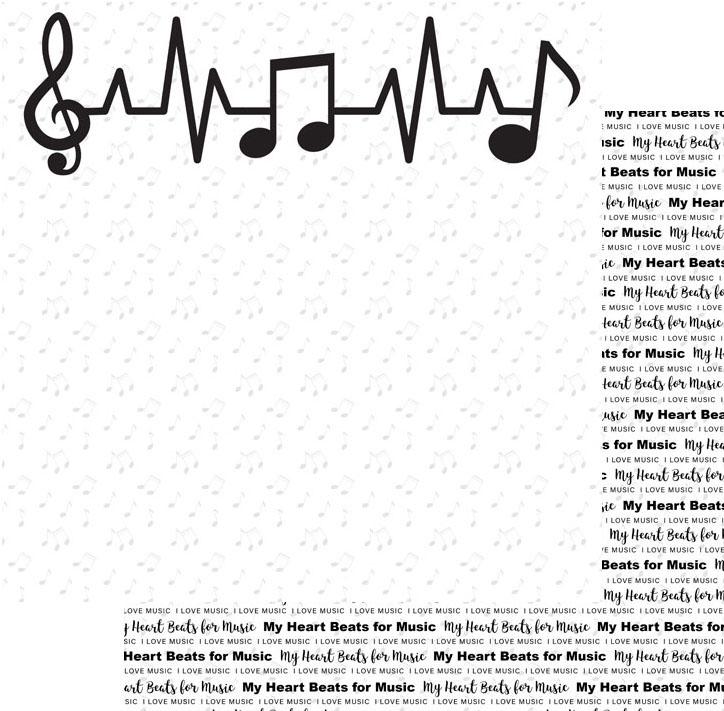 Scrapbook Customs Paper-Heart Beats for Music