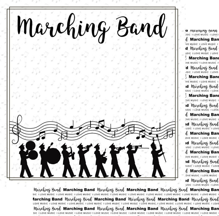 Scrapbook Customs Paper-Marching Band Notes