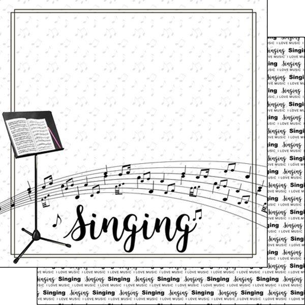 Scrapbook Customs Paper-Singing notes
