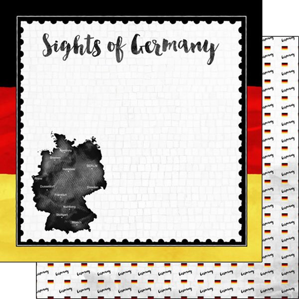 Scrapbook Customs - Sights Collection - 12 x 12 Double Sided Paper - Flag - Germany