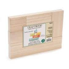 Craftwood Blocks - Unfinished Wood - Assorted Sizes - 5 pieces