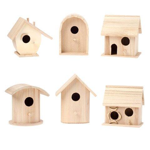 Unfinished Wood Birdhouses- Assorted