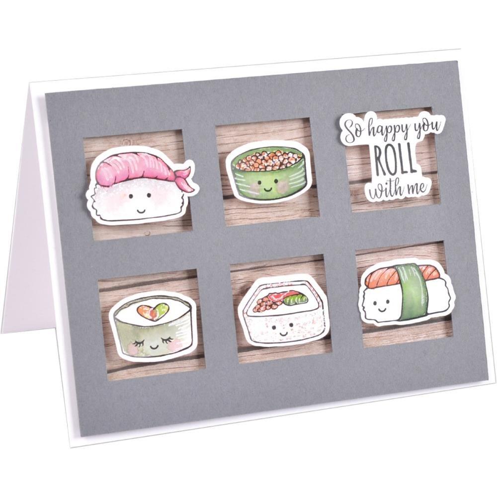 Sushi Roll Sizzix Framelits Die & Stamp Set By Katelyn Lizardi 6/Pkg
