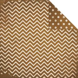 BoBunny Double Dot Chevron Double-Sided Cardstock 12x12 Decaf