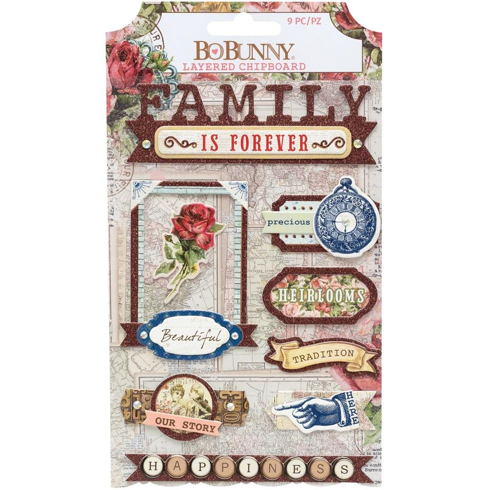 Family Heirlooms Adhesive Layered Chipboard 9/Pkg-W/Iridescent Jewel & Copper Gl...
