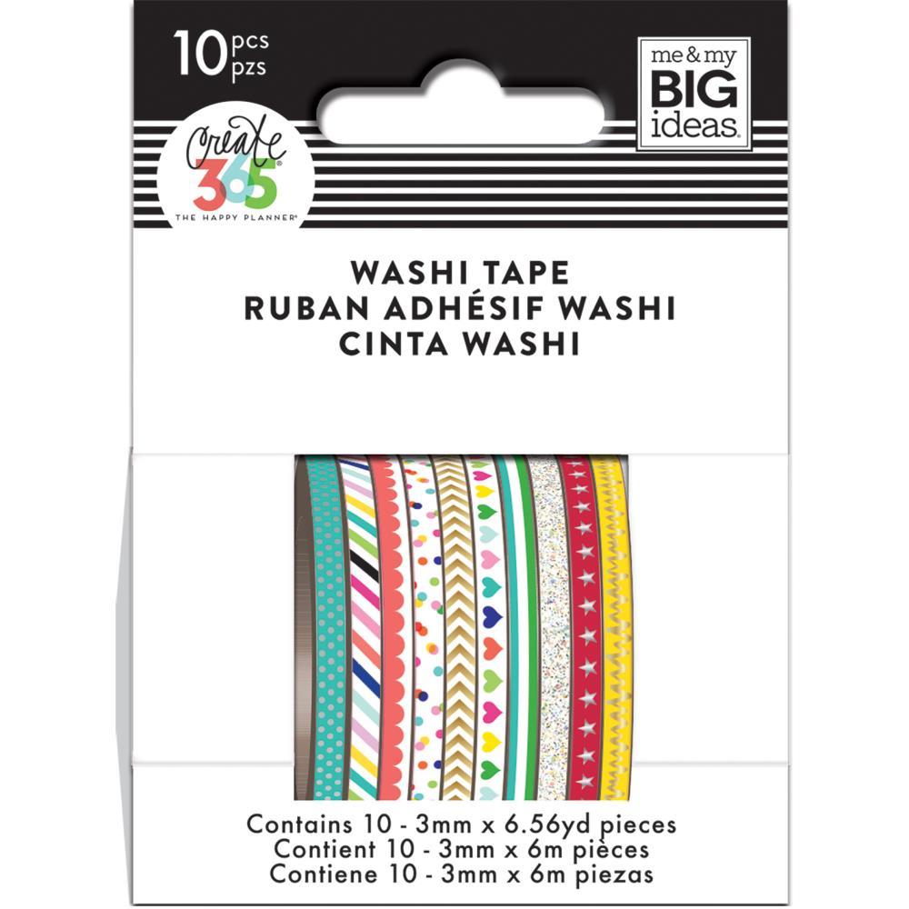 Happy Planner Mini Washi Tape 3mmx6.56yd Each 10/Pkg- Brights