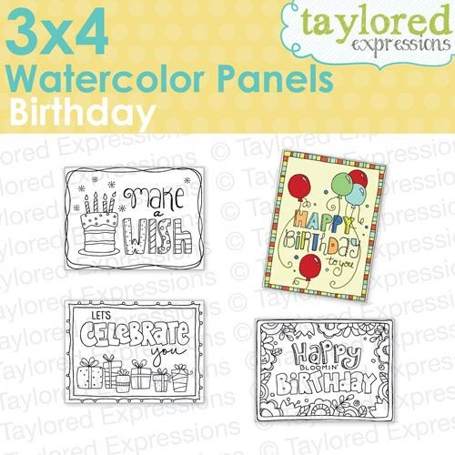 Taylored Expressions Water Color Panel 3x4-BIRTHDAY