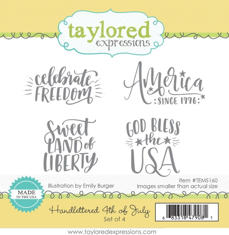 Taylored Expressions stamp- Handlettered 4th of July