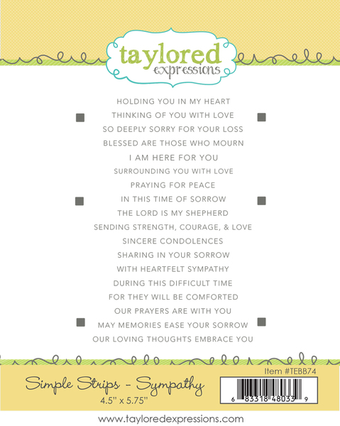 Simple Strips SYMPATHY stamp stencil - Taylored Expressions
