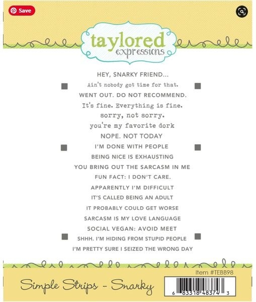 Snarky Simple Strips- Taylored Expressions Stamp -