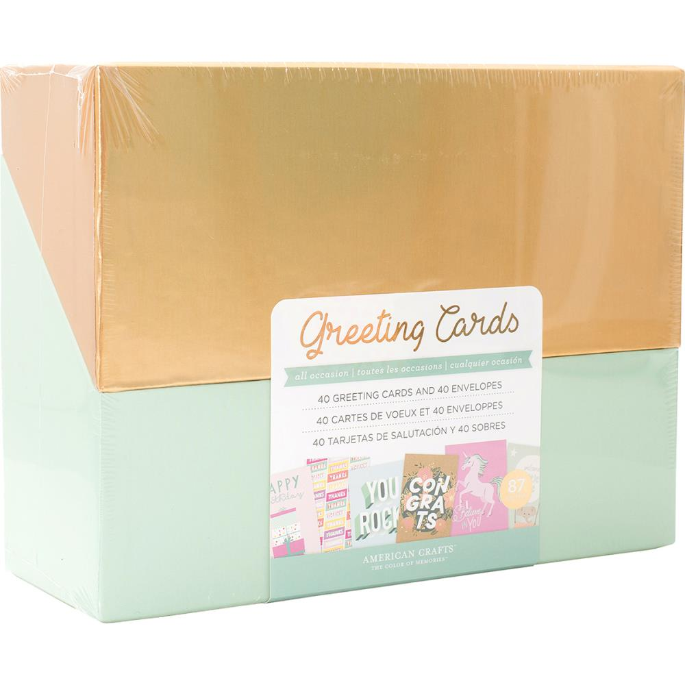 American Crafts Greeting Cards Wenvelopes 40box All Occasion