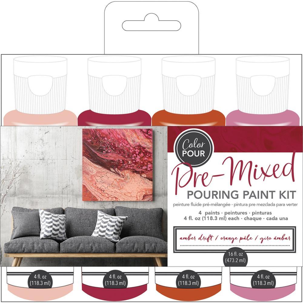 Amber Drift- American Crafts Color Pour Pre-Mixed Paint Kit 4/Pkg