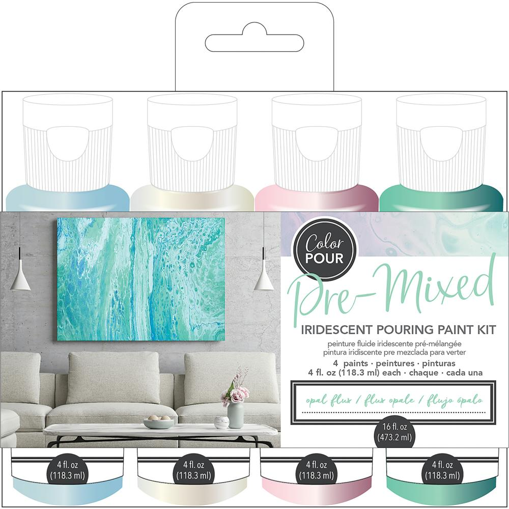 Opal Flux- American Crafts Color Pour Pre-Mixed Paint Kit 4/Pkg