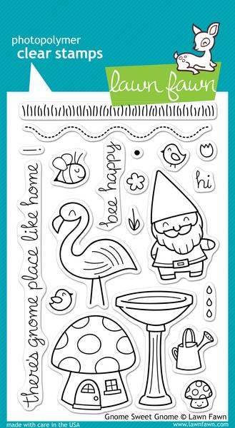 Gnome Sweet Gnome- Lawn Fawn Clear Stamps