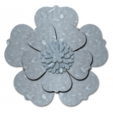 Jillibean Soup Mix The Media Galvanized Metal Flower- 5 petal 10