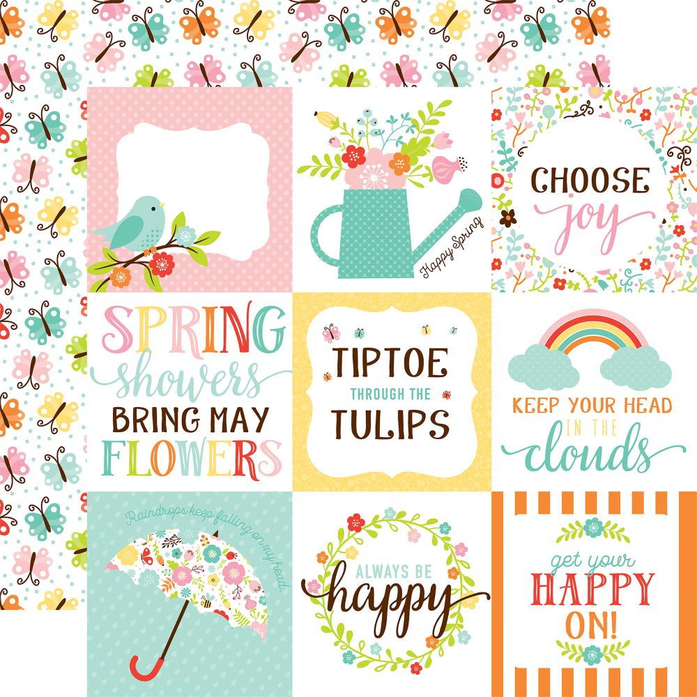 Hello Spring Double-Sided Cardstock 12X12- 4X4 Journal Cards