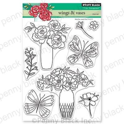 Penny Black Clear Stamps-Wings & Vases