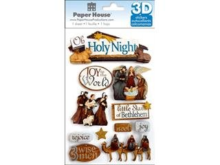 Paper House 3D Stickers 4.5x8.5 Holy Night