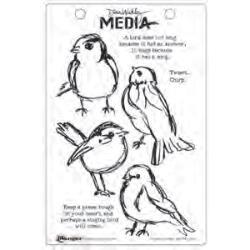 Dina Wakley Stamps- Scribbly Bird