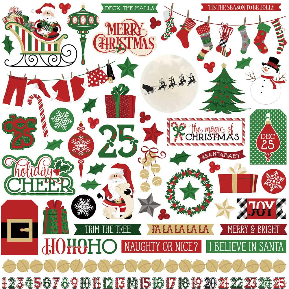 Here Comes Santa Elements Stickers 12X12