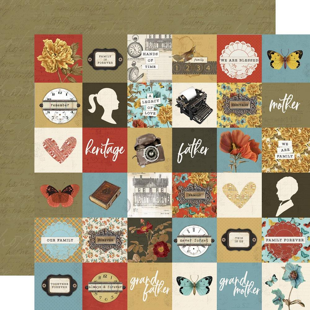 Simple Vintage Ancestry Double-Sided Cardstock 12X12-2X2 Elements