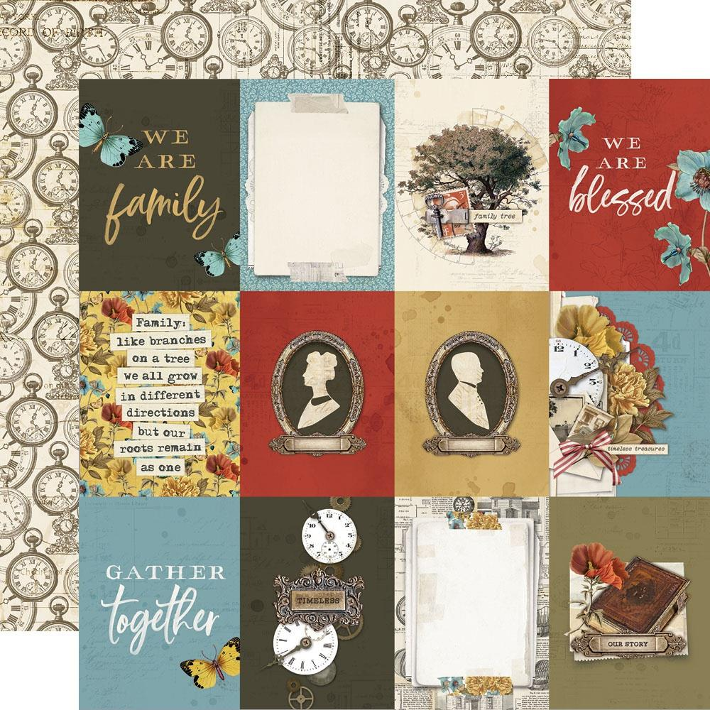 Simple Vintage Ancestry Double-Sided Cardstock 12X12-3X4 Elements