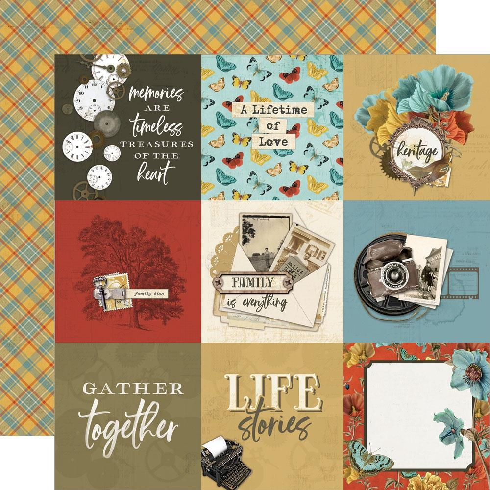 Simple Vintage Ancestry Double-Sided Cardstock 12X12-4X4 Elements