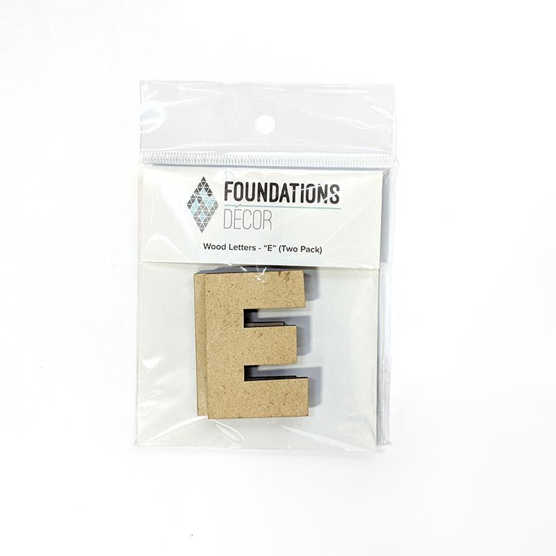 Foundations Decor WOOD LETTERS - ''E'' (TWO PACK) -