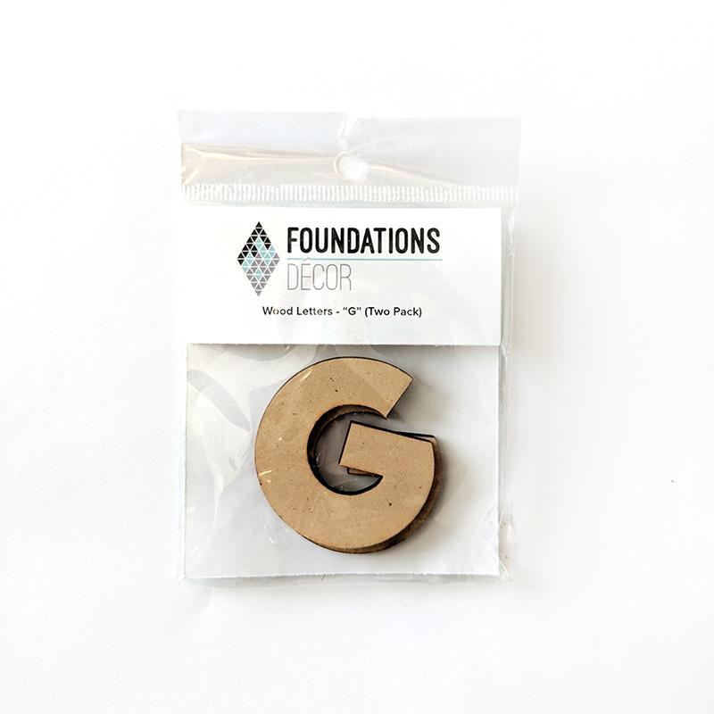 Foundations Decor WOOD LETTERS - ''G''(TWO PACK)