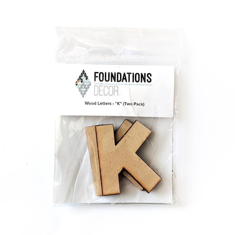 Foundations Decor WOOD LETTERS - 'K'' (TWO PACK)