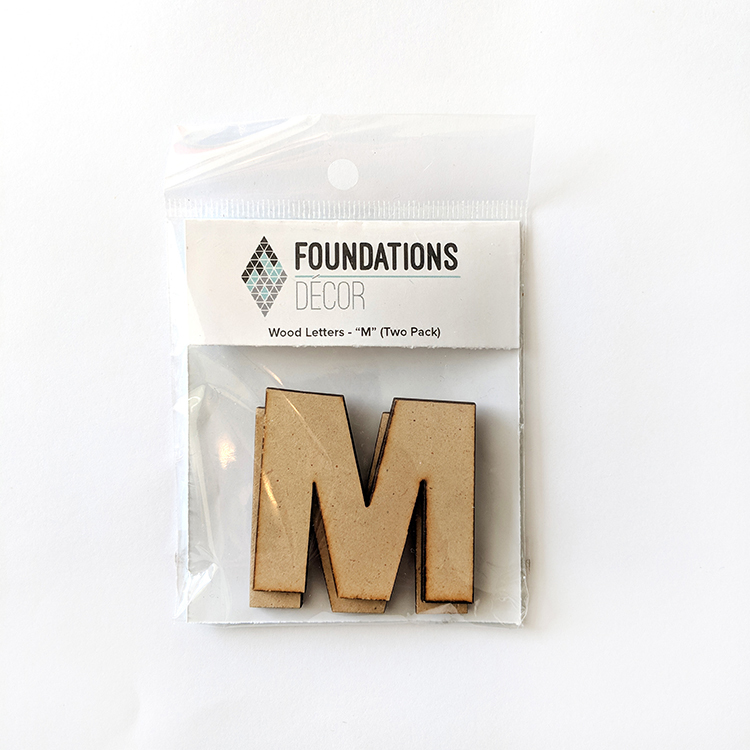 Foundations Decor WOOD LETTERS - ''M'' (TWO PACK)