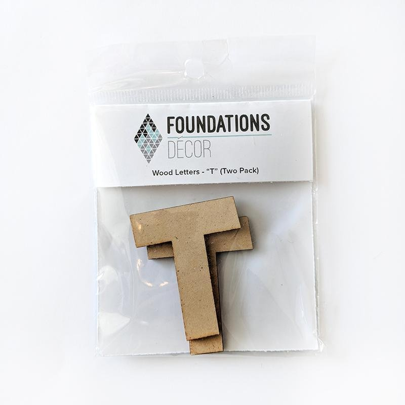 T Foundations Decor WOOD LETTERS - ''T'' (TWO PACK)
