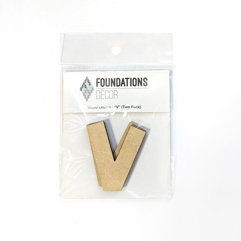 Foundations Decor WOOD LETTERS - 'V' (TWO PACK)