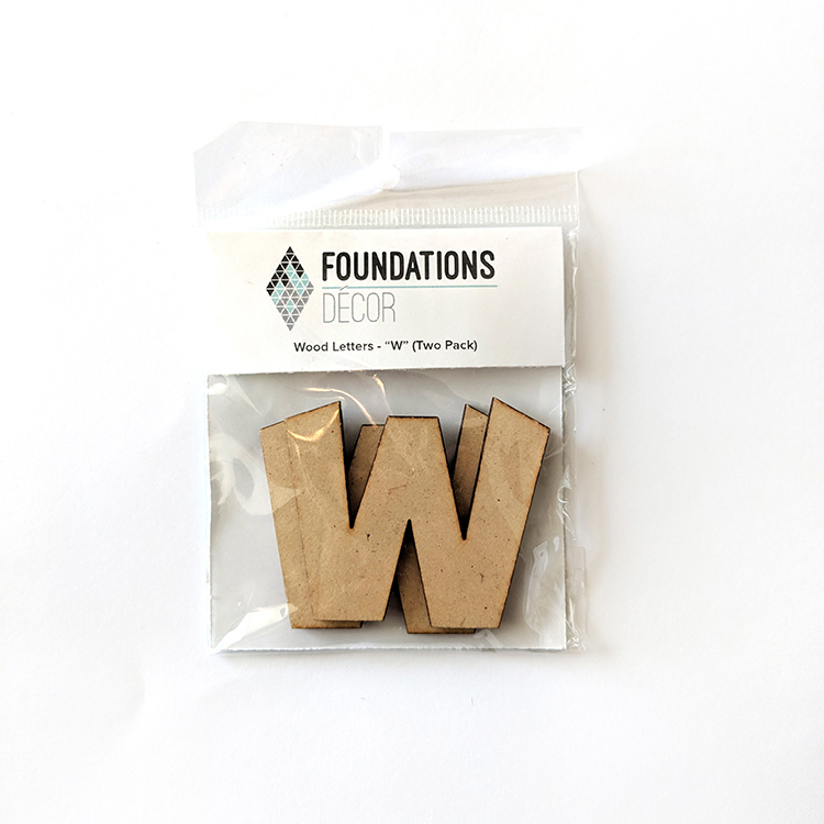 W Foundations Decor WOOD LETTERS - ''W'' (TWO PACK)