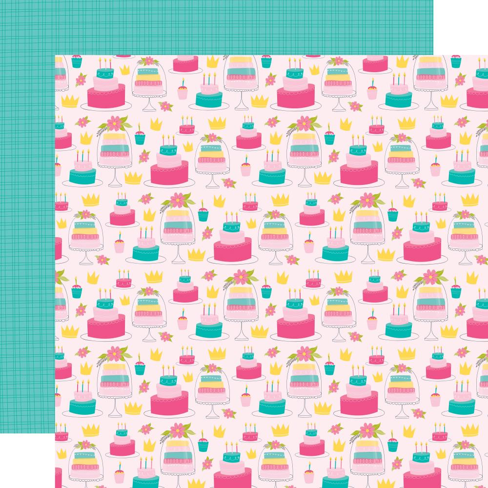 Cakes & Crowns- Wish Big Girl Double-Sided Cardstock 12X12