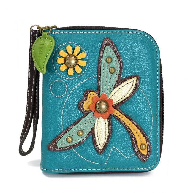 Dragonfly Turquoise Zip-Around Wallet