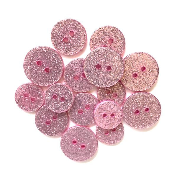 Pink Champagne Glitter Buttons