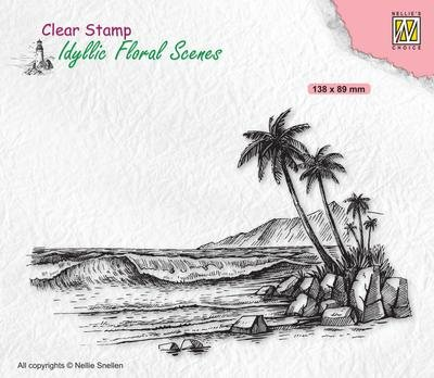 Nellie's Choice Clear Stamp Idyllic Floral Scenes Tropical Coast