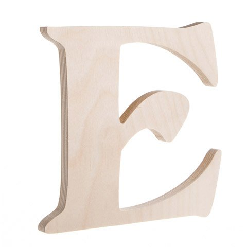 7.25 inch Unfinished Wood Fancy Letter E