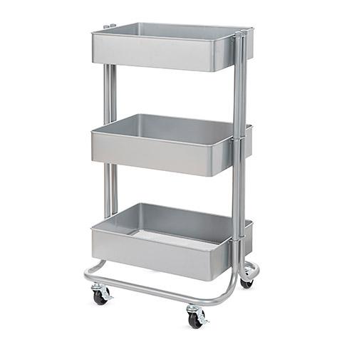 Darice 3 Tier Rolling Cart- Grey