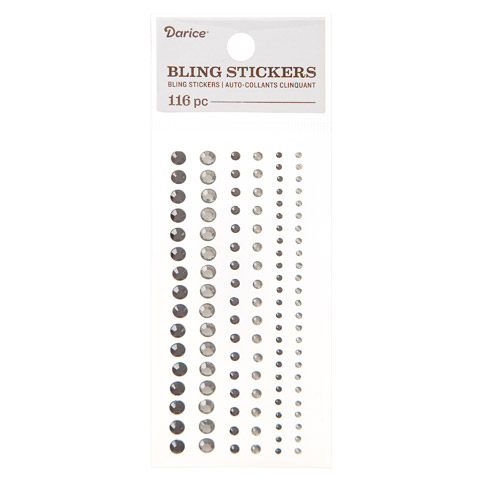 Assorted Round Black & Gray Bling Stickers: 116 pc